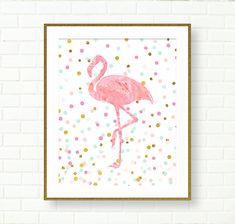 Baby Girl Nursery Art Print, Flamingo Print, Pink, Aqua, Gold, Girl Room Art, Pastel, Glitter, Confetti, Glam, Vanity Decor, Modern Wall