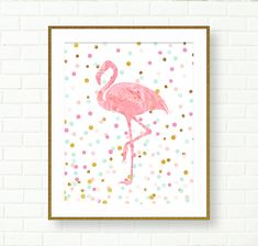 Printable Nursery Art, Baby Girl Nursery Prints, Flamingo, Pink Gold, DIGITAL DOWNLOAD, Birds, Tropical, Confetti, Glitter, Kids Wall Art