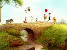 Winnie the Pooh in the Hundred Acre Wood...What more perfect place is there?  Only Heaven! :)