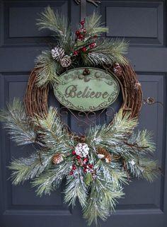 Rustic Christmas Wreaths BELIEVE Outdoor Holiday Wreath xmas reef ideas Front Door Christmas Decorations, Christmas Wreaths To Make, Holiday Wreaths, Rustic Christmas, Christmas Holidays, Christmas Crafts, Winter Wreaths, Outdoor Christmas Wreaths, Christmas Onesie