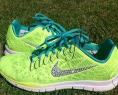 4bca84ea87c59 Bling Swarovski Nike Free 5.0 TR Fit 3 Volt Pale Green Adidas Running  Shoes