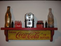 Coca-Cola RETRO wooden wall display shelves - crafted from Vintage original cases