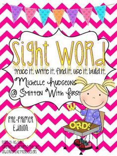 This packet includes 39 sight word (pre-primer dolch words) practice pages. Each page includes a trace it, write it, find it, use it in a sentence, and build it. Preschool Sight Words, Teaching Sight Words, Sight Word Practice, Sight Word Activities, Literacy Centers, Dolch Word List, Sight Word Worksheets, Kindergarten Language Arts