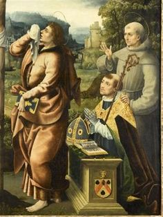 Appartement de Madeleine de Savoie. CRUCFIXION de NOÊL BELLEMARE. 1) Détail: saint Jean au pied de la croix, et le donateur en prière avec saint François d'Assise. Origine: Paris, entre 1519 et 1529. Artiste: NOËL BELLEMARE. Portrait de FRANCOIS PONCHER, évêque de Paris, en donateur. La famille Poncher est proche du pouvoir royal. Oncle et neveux embrasseront une carrière d'ecclésiastiques, tous deux nommés successivement évêque de Paris.