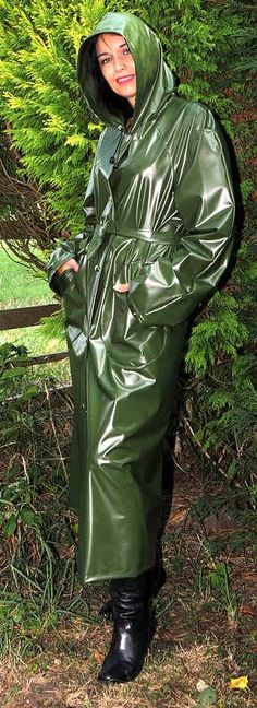 Lovely long olive green pvc mac