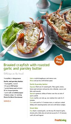Braaied Crayfish with Roasted Garlic & Parsley Butter Crawfish Recipes, Seafood Recipes, Braai Recipes, Cooking Recipes, Seafood Dishes, Fish And Seafood, South African Recipes, Lobsters, Roasted Garlic