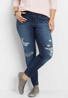 plus size DenimFlex™ high rise destructed jegging - alternate image