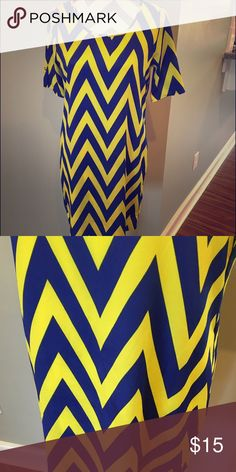 Blue and gold chevron print dress Blue and gold chevron print dress Gameday Dresses Midi