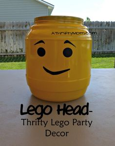 Lego head - Thrifty Lego Party Decor, - A Thrifty Mom - Recipes, Crafts, DIY and 9th Birthday Parties, Lego Birthday Party, Birthday Ideas, Quick Crafts, Fun Crafts, Amazing Crafts, Diy For Kids, Crafts For Kids, Lego Movie Party