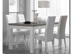 Table de repas FANO laquée bicolore blanc et gris