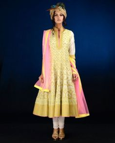 #Exclusivelyin, #IndianEthnicWear, #IndianWear, #Fashion, Pearl White Anarkali Suit with Antique Golden Applique Work