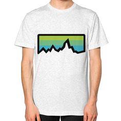 Abstract Mountain Light Invert Unisex T-Shirt (on man)