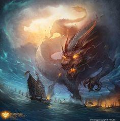Dragon sea Art by Zhichao Cai / Hangzhou, China Digital Art Illustration, Sea Illustration, Beast, Fantasy Kunst, Cool Dragons, Dragon Artwork, Dragon Pictures, Fantasy Monster, Mythological Creatures