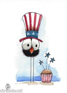 ACEO Original Watercolor Painting Patriotic Art Whimsical Bird Crow Cupcake | eBay