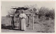 Alena Levi - Cahuilla - 1917 {Note: Levi is standing in front of a large dry food storage basket. Indian Tribes, Native Indian, Quanah Parker, San Bernardino Mountains, Cob Building, Native Place, Dry Food Storage, Native American Pictures, Indian Village