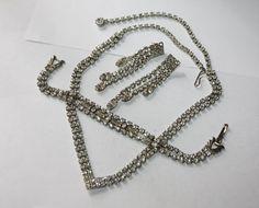 Vintage Celebrity Rhinestone Necklace Bracelet Earring by patwatty, $25.00
