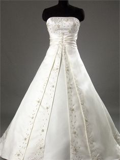 Sash Romantic A-line with Embroidery and Beadings Ivory Satin Wedding Dress  WD1012 www.tidedresses.co.uk $227.0000