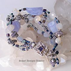 Schaef Designs Blue Chalcedony irridescent glass & sterling silver gemstone bracelet with Iolite Clasp   New Mexico