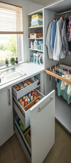 Utility Rooms by Schüller - Schuller by Artisan Interiors Boot Room Utility, Small Utility Room, Utility Room Designs, Small Laundry Rooms, Laundry Room Organization, Utility Room Ideas, Ikea Utility Room Storage, Ikea Laundry Room, Storage Room