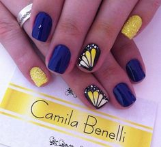 2015 Lovely Summer Nail Art Ideas - Navy blue and sunshine yellow butterfly nails Fancy Nails, Cute Nails, Pretty Nails, My Nails, Nail Art Modele, Butterfly Nail Art, Butterfly Wings, Orange Butterfly, Best Nail Art Designs