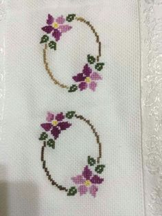 """""""Discover thousands of images about"""", """"Sadece 2 Dakika`da göz altı to"""", """"This post was discovered by Ayf"""", """"Towel with Cross-Stitch"""", """"Towel Cross Stitch Rose, Cross Stitch Borders, Cross Stitch Flowers, Cross Stitch Designs, Cross Stitching, Cross Stitch Embroidery, Hand Embroidery, Cross Stitch Patterns, Embroidery Designs"""