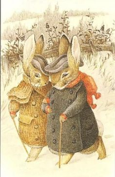 """Beatrix Potter """"Once upon a time there were four little Rabbits, and their names were--Flopsy, Mopsy, Cottontail, and Peter. Christmas Images, Christmas Art, Christmas Postcards, Merry Christams, Beatrix Potter Illustrations, Beatrice Potter, Peter Rabbit And Friends, Dibujos Cute, Bunny Art"""