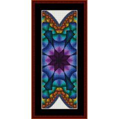 "Fractal bookmark by Cross Stitch Collectibles Finished Sizes (approximate) 18 count: 4.25"" x 11""  24 count: 3.25"" x 8.25""  Stitches: 75w x 200h  A fractal is a figure with repeating patterns containing shapes that are like the"