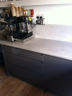 Fracino coffee machine and dark grey cupboards. Polished concrete work top done by Crete craft Coffee Machine, Espresso Machine, Grey Cupboards, Polished Concrete, Dark Grey, Relax, Kitchen Appliances, Craft, Top