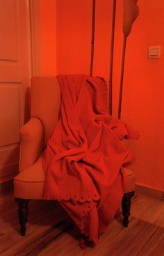Orange Room, Yellow Chair and Red Plaid - Limited Edition 20 of 20 Photograph Art Prints For Home, Fine Art Prints, Orange Rooms, Wingback Chair, Fine Art Photography, Orange Color, Accent Chairs, Rainbow, Furniture