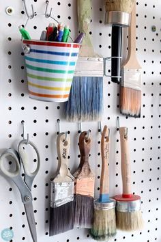 Organizing tools and supplies with pegboard