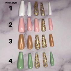 Custom Press On Acrylic Nails Set of 10 any Size & Shape | Etsy Acrylic Nail Set, Long Acrylic Nails, Gold Nails, Pink Nails, Yellow Nails, Olive Nails, Nail Pictures, Ballerina Nails, Nail Sizes