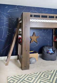 Outer space bedroom (with tutorial for making constellation wall with paint, a ruler, and a paint pen).