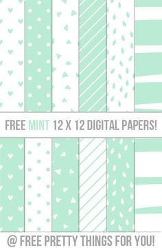 Free MINT 12x12 Digital Scrapbooking Papers | Free Pretty Things For You