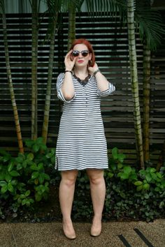 The Belted Pear | shift dress | casual fashion | chic fashion | summer fashion | casual and chic | black and white | striped dress | peach heels | fashion blogger