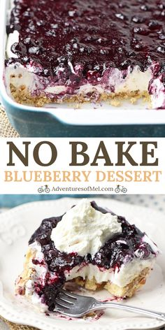 Whip up a dreamy no bake blueberry dessert, aka blueberry delight, with cream cheese, Dream Whip, blueberry pie filling, and a pecan crust. Easy recipe! #adventuresofmel #blueberry #desserts #nobake