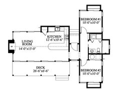 First Floor Plan of Cabin   Ranch   Southern   House Plan 73615