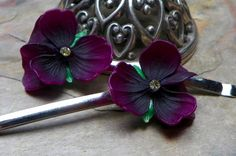 February Amethyst Purple Violet Pansy Bobby Pins W by WillowBloom