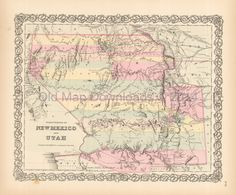 New Mexico Utah Territory Old Map Colton 1855 Digital Image Scan Download Printable - Old Map Downloads