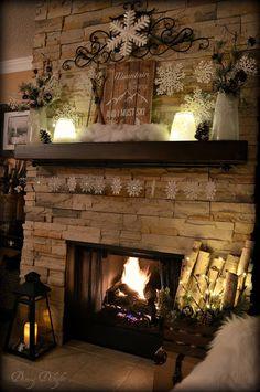 Dining Delight: Ski-Themed Winter Mantel