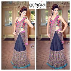 Beautiful Lehenga Saree with a patchwork halter blouse. Model: Ranjani Santosh
