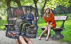 A blonde looks away as a male admirer with flowers is left with a broken heart: The artist said he has been deeply influenced by Belgian Surrealism, German Expressionism, American Pop Art and Social Realism - Artist, Ben Heine