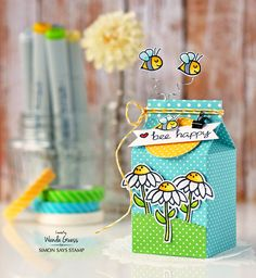 Bee happy gift box project with Wanda Guess! Get the details at the Simon Says Stamp blog!