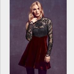 NWT FP meadow (cranberry) fit and flair New with tags, embroidered with beaded top with a button down back Free People Dresses