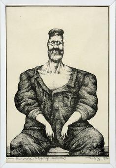Chory Fachowiec - 1974, grafika, 17x25