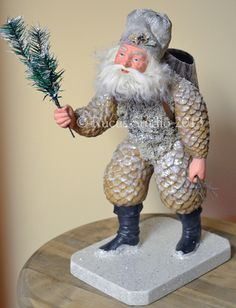 "Pinecone Santa by Scott Smith 14.5"" tall © Rucus Studio 2013"