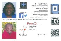 @ClericalClinic: Freddie D's & Clerical Clinic - Postcard Front