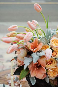 peach blush foral centerpiece