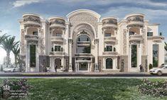 KHaled alsahli palace on Behance Classic House Exterior, Classic House Design, Modern Exterior House Designs, Dream House Exterior, Dream Home Design, Exterior Design, Pool House Designs, Mansion Designs, Bungalow House Design