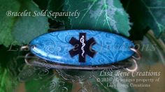 035 Blue Paisley Oval Medical Id Tag by LisaReneCreations on Etsy