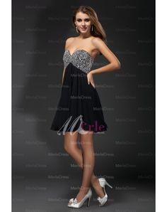 Sweetheart Sleeveless Rhinestone Chiffon A-line Cocktail Dresses
